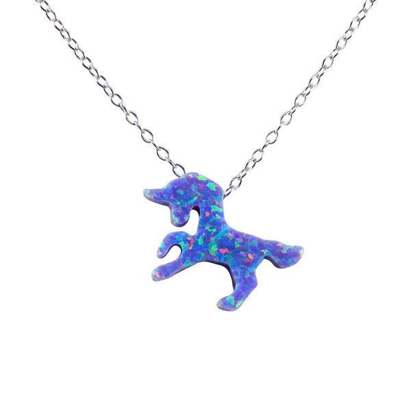 Unicorn Necklace Purple Lab-Created Opal Pendant 925 Sterling Silver Chain