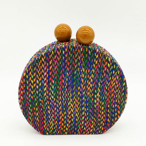 Multicolored Woven Round Clutch Bag