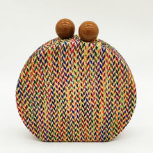 Load image into Gallery viewer, Multicolored Woven Round Clutch Bag