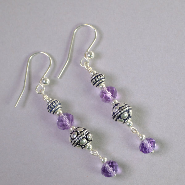 Silver and Amethyst Handcrafted Earrings.