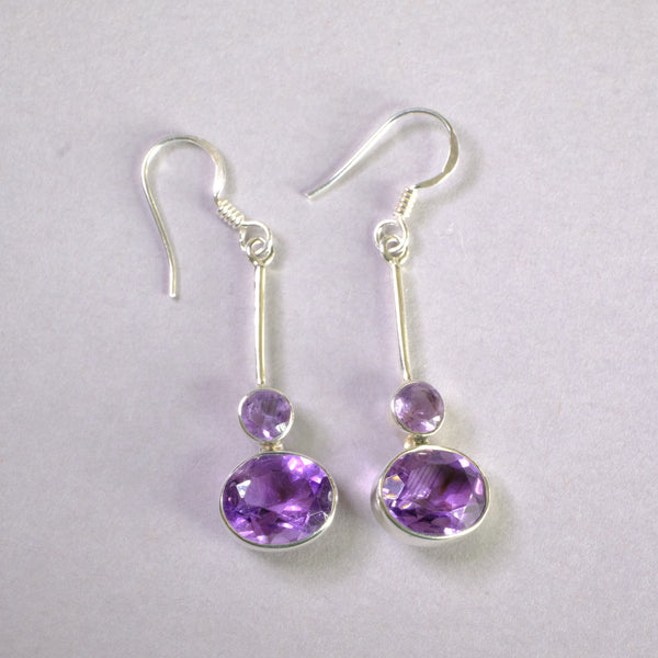 Silver and Amethyst Drop Earrings.