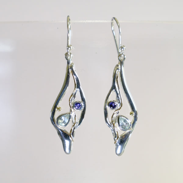 Blue Topaz. Iolite and Silver Drop Earrings.