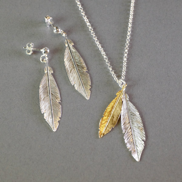 Satin Silver and Gold Plate Feather Pendant by LBJ Designs.