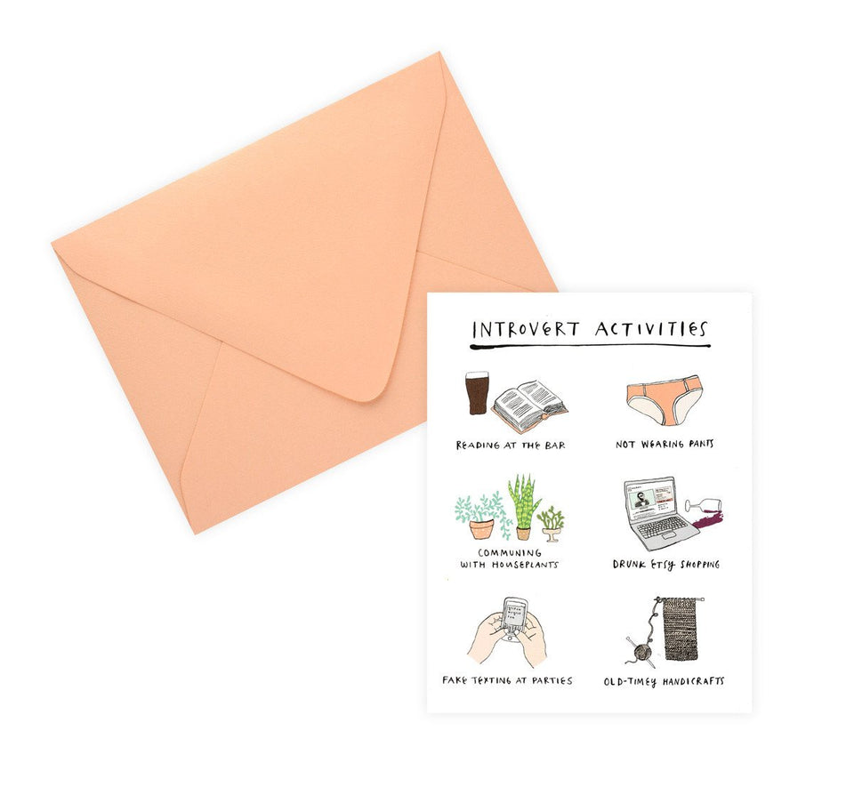 Party Of One Paper Introvert Activities Greeting Card