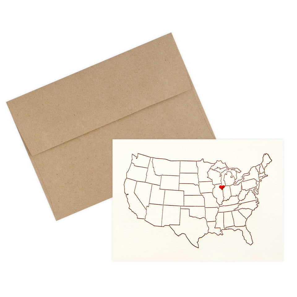 Lark Press Heart Over Chicago Folded Note Card