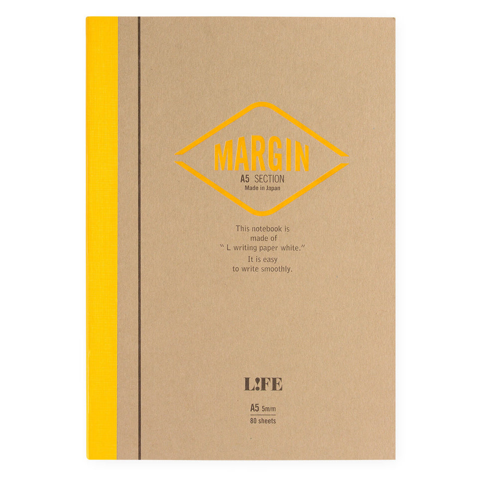 LIFE Stationery Margin A5 Notebook | Plain, Section or Ruled section