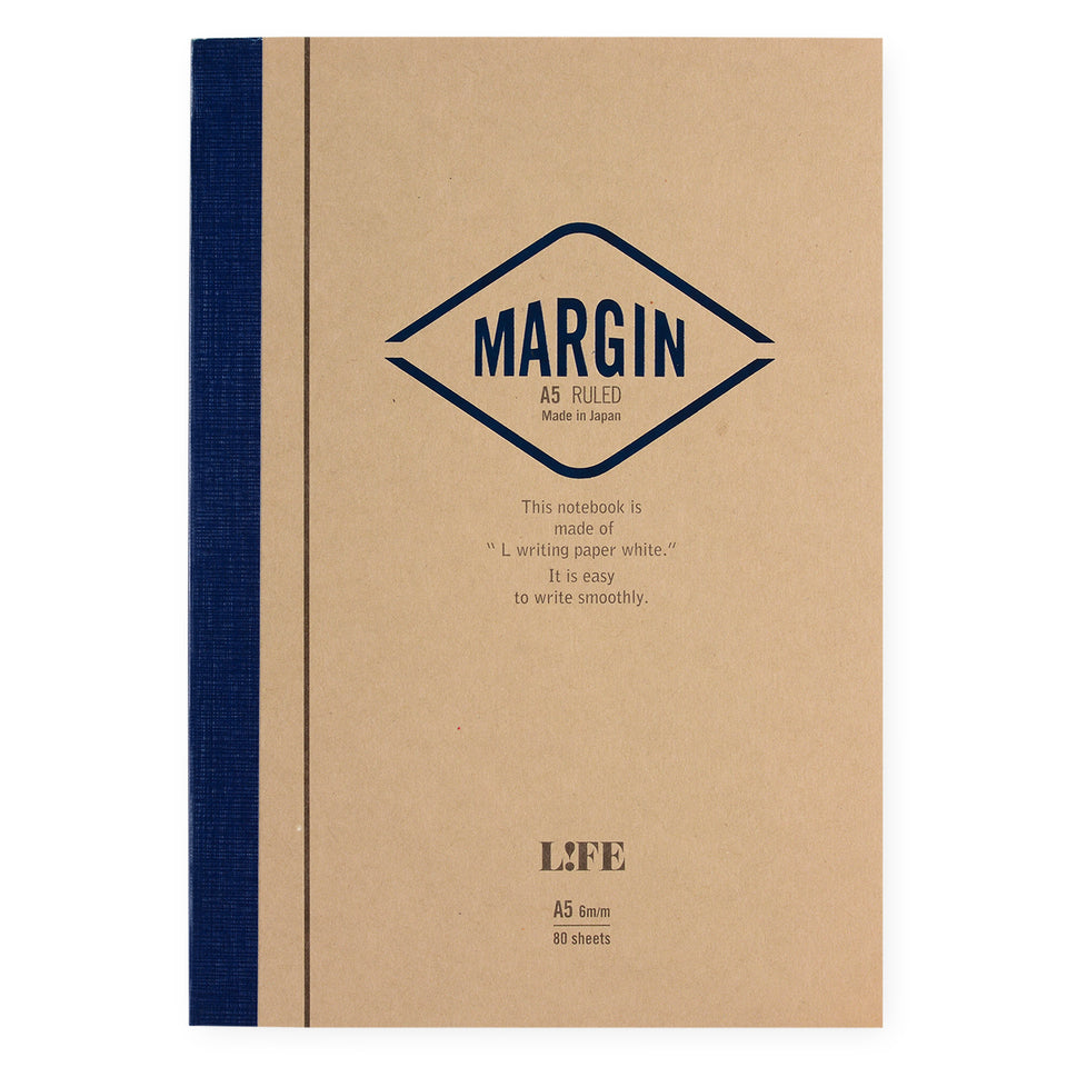 LIFE Stationery Margin A5 Notebook | Plain, Section or Ruled ruled