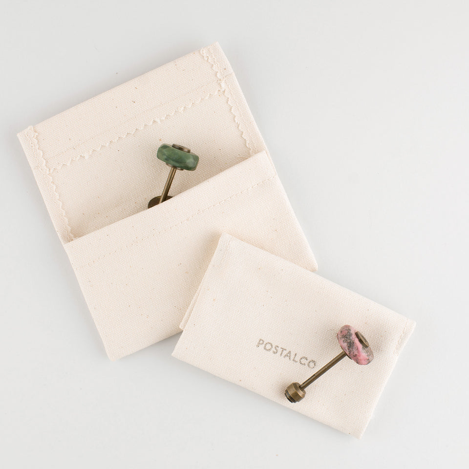 Postalco Mineral Key Holder Semi-Precious Stones and Brass | Namibian Jade, Moss Agate or Rhodonite