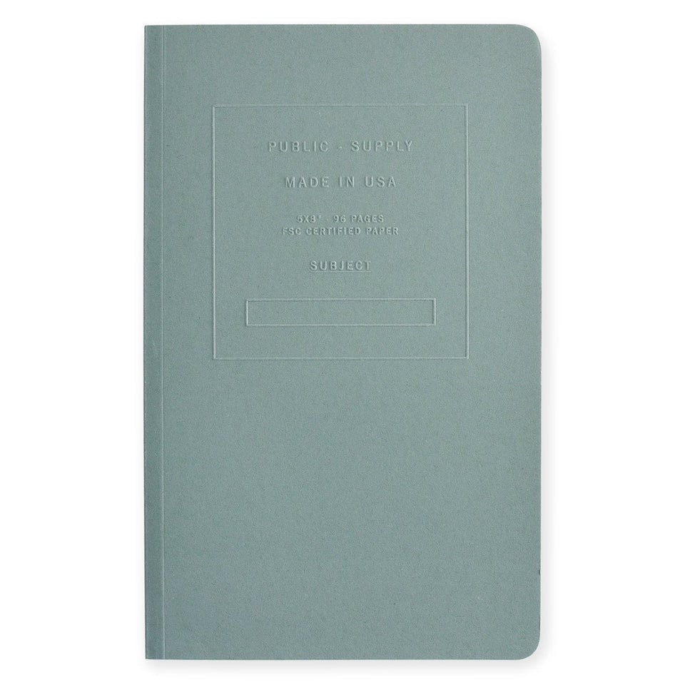 "Public - Supply 5 x 8"" Embossed Cover Dot Grid or Ruled Notebook Steel Blue"