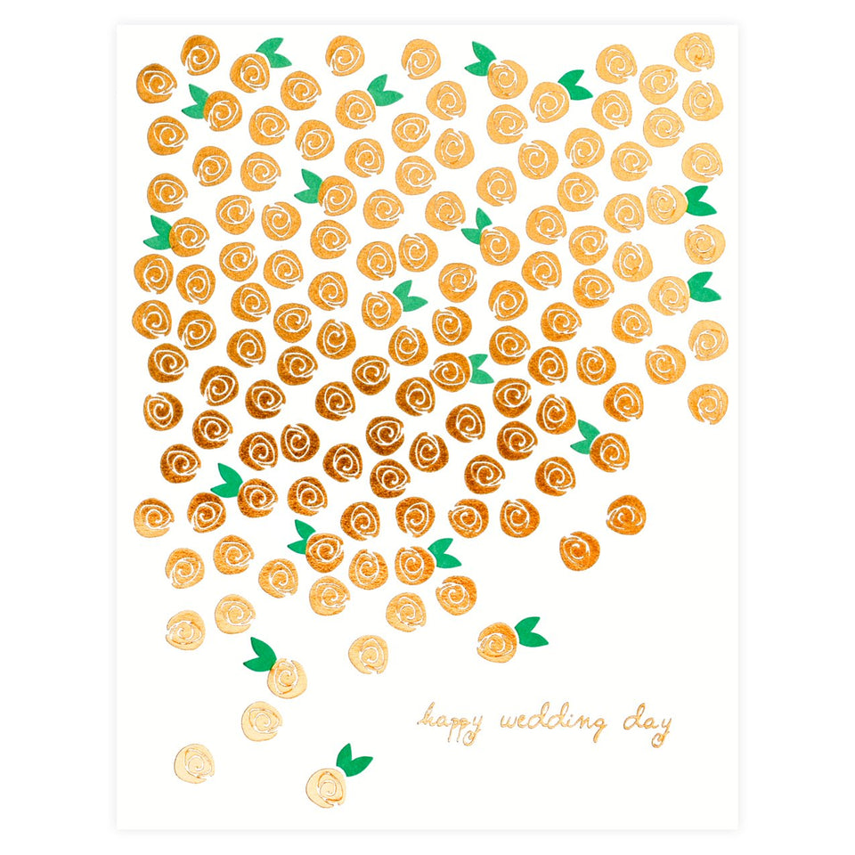 Underwood Letterpress Wedding Day Blossoms Copper Foil Card