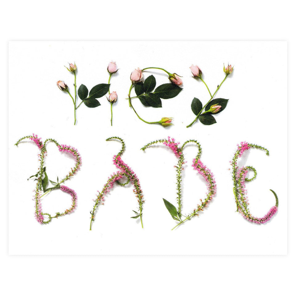 With Lavender And Lace Hey Babe Floral Typography Greeting Card