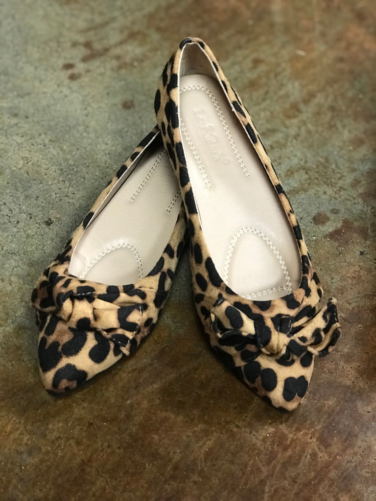 Leopard Ballerina Flats With Bow Detail - - Haute Stuff Boutique