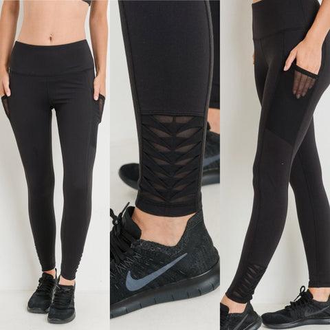 High Waist Full Leggings With Side Pockets & Ankle Detail - Regular & Plus Size
