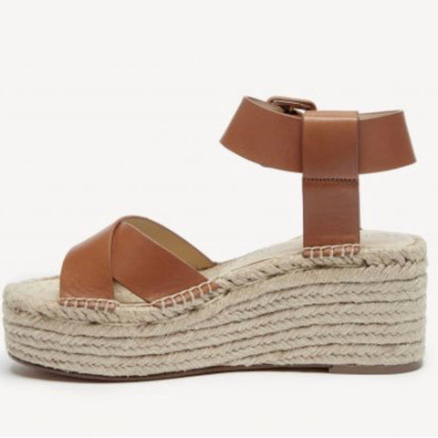 Audrina Platform Espadrille Sandal in Cognac by Sole Society