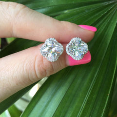 Cubic Zirconia Clover Halo Stud Earrings