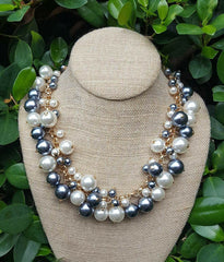 Pearl Bauble Necklace Gray