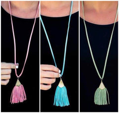 Final Sale: Shiloh Suede Long Tassel Necklace - Choice of Color
