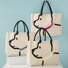 Dog Tote Bag with sequin collar