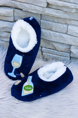 Snoozies! Slippers - Bottle of White (Navy)