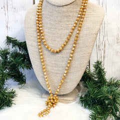 Caramel Long Beaded Necklace by Prep Obsessed