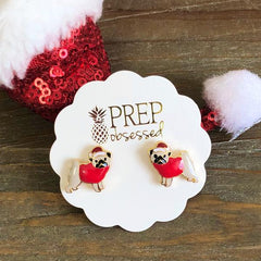 Christmas Hat Pug Signature Enamel Stud Earrings