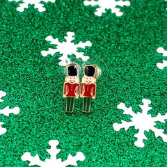 Smiling Nutcracker Toy Soldier Signature Enamel Stud Christmas Holiday Earrings