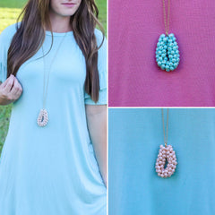 Final Sale: Cynthia Beaded Spring Necklace- Choice of Color