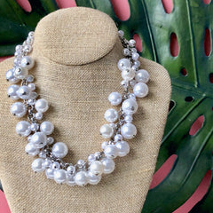 Molly Pearl Bauble Necklace - Silver