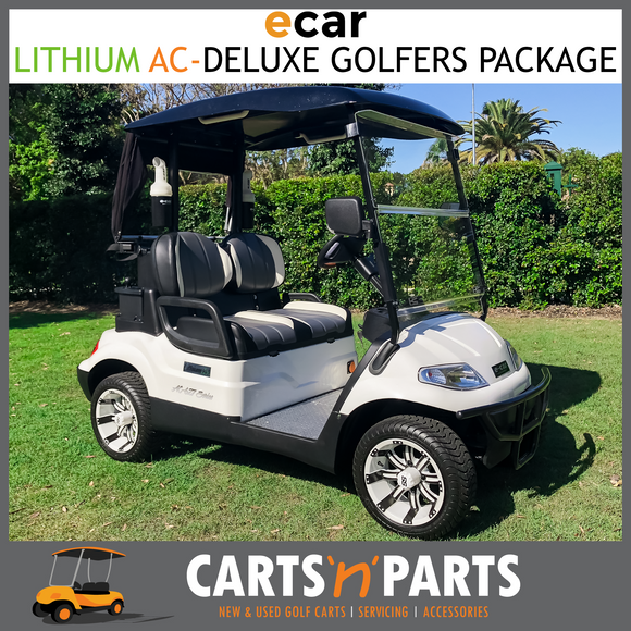 ECAR LITHIUM AC POWER GOLF CART BUGGY 2 SEAT WHITE GOLFERS DELUXE PACKAGE-Carts N Parts