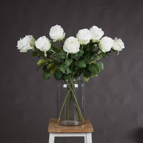 Faux Traditional White Rose