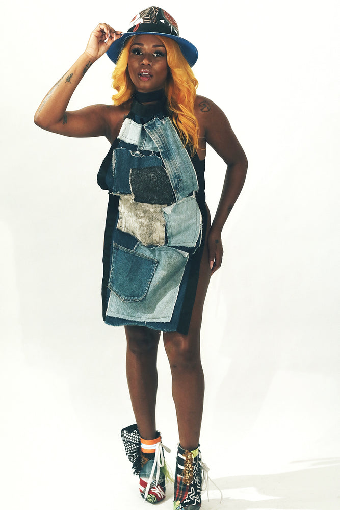 DOPE Denim Patchwork Apron