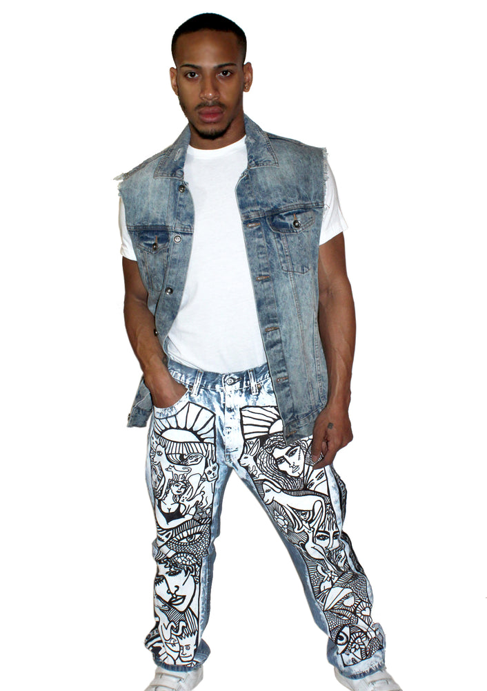 Many Faces Denim Painted Jeans