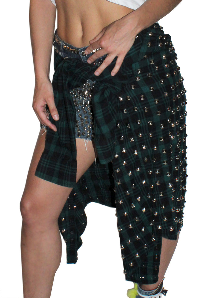 Spiked Cut-offs with Flannel Tail