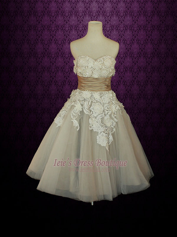 strapless vintage 50s tea length wedding dress in mocha