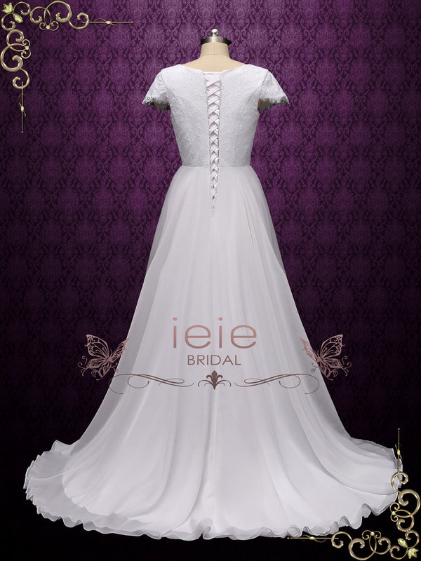 vintage style chiffon lace wedding dress with short sleeves