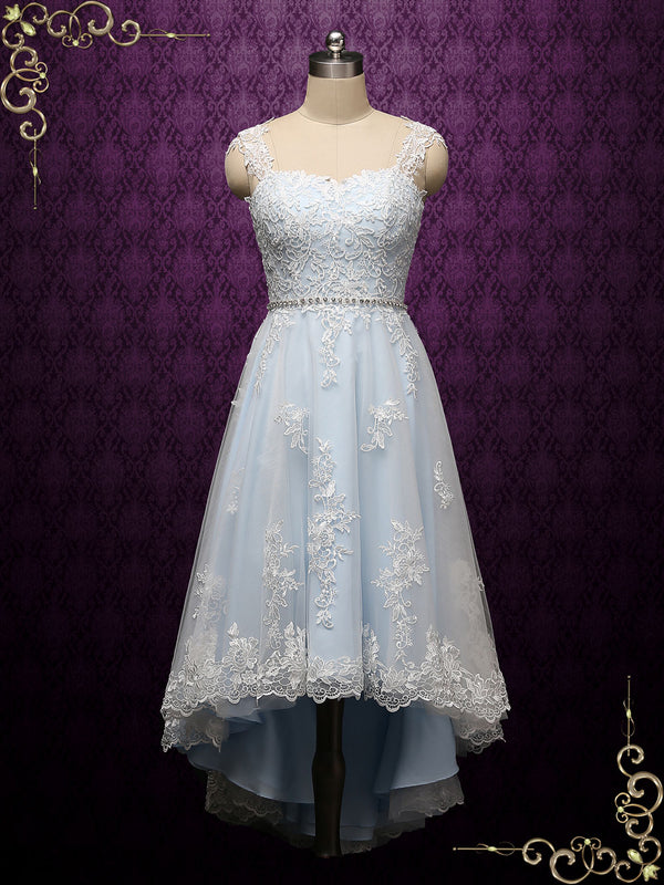 Light Blue Vintage Style Lace High Low Wedding Dress | Nellie