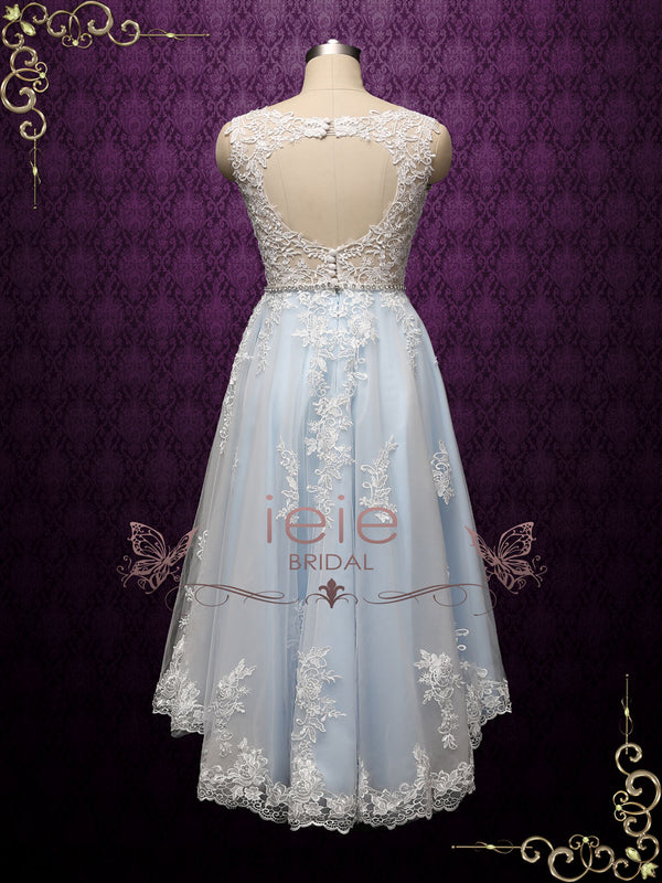 Light Blue Vintage Style Lace High Low Wedding Dress with Keyhole Back