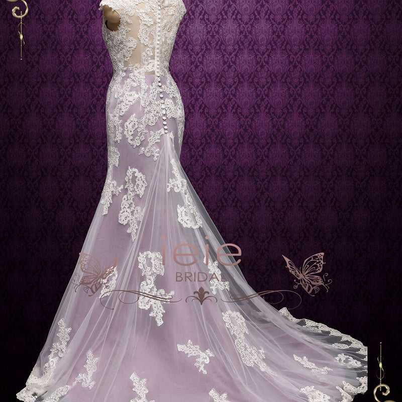 Purple Mermaid Lace Wedding Dress | JULY