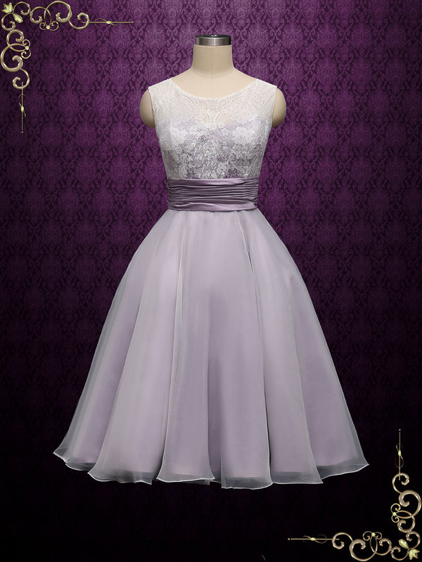 Purple Short Retro Tea Length Lace Wedding Dress | Bree