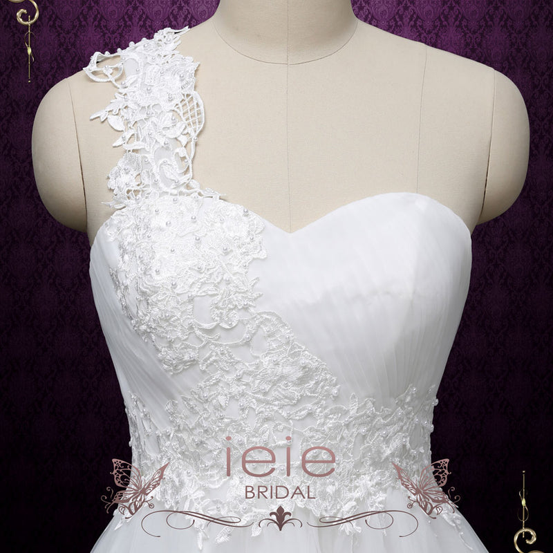 Short Lace Wedding Dress with One Shoulder Neckline | LUCIE