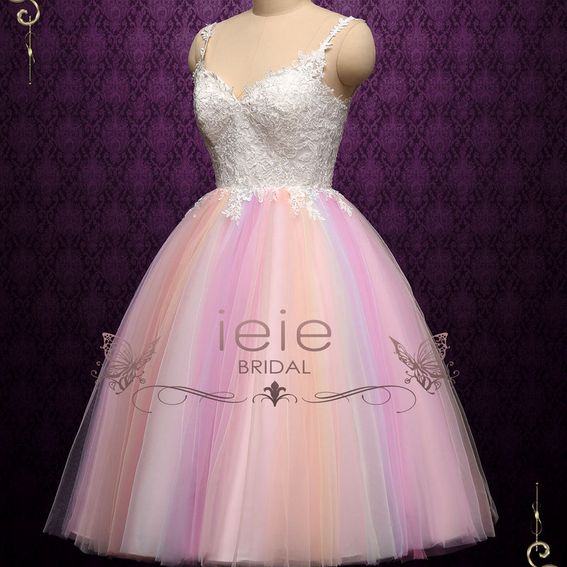 Short Tea Length Wedding Dress with Rainbow Skirt | CHARMIN