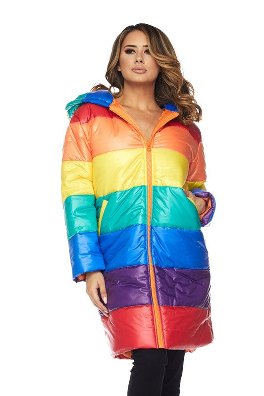 Down For Me Rainbow Long Puff Jacket