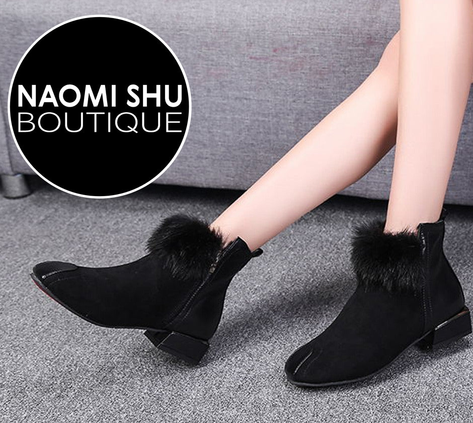 YEDIAN Fluffy Faux Fur Ankle Boots