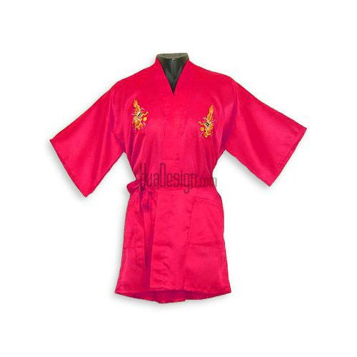 Red Embroidered Dragon Satin Happy Coat