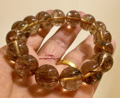 Bracelet- Rutilated Smoky Quartz  * for wrist size 19 to 21mm