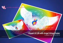 Art Print Poster- Flower of Life with Angel Wings