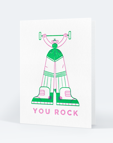 "Carte letterpress ""You rock"", illustration Martha Rivas - Édition Letterpress de Paris"