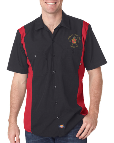 Cadillac LaSalle Club Dickies Regular Fit Short Sleeve Two-Tone Mechanics Shirt (NO Background on logo)