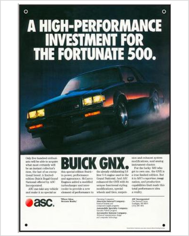 Buick GnX Fortunate 500 GM ad Banner or Metal sign