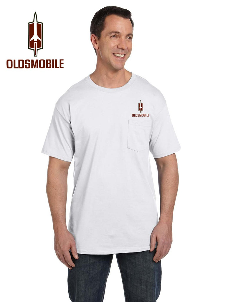 Oldsmobile 70's Rocket Pocket T-shirt (embroidered logo on front)
